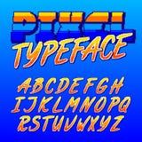 Carattere del pixel Retro fonte di alfabeto del videogioco arcade Lettere maiuscole dello scritto illustrazione di stock