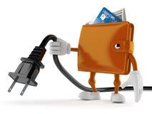 Carattere del portafoglio che tiene cavo elettrico Fotografia Stock Libera da Diritti