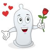 Carattere del preservativo con la rosa rossa Immagine Stock