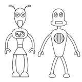 Carattere del profilo delle coppie del robot Illustrazione di riserva isolata di vettore illustrazione di stock