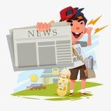 Carattere del ragazzo dei giornali che mostra giornale e gridare ragazzo dei giornali con Immagine Stock