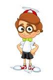 Carattere del ragazzo del nerd del fumetto Fotografie Stock Libere da Diritti