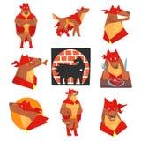 Carattere del supereroe del cane nell'insieme di azione, cane nelle pose differenti con le illustrazioni rosse di vettore del cap Fotografia Stock