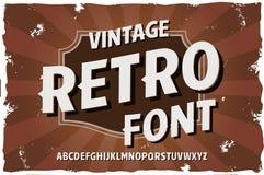 Carattere dell'annata di vettore Retro fonte tipografica Fotografie Stock Libere da Diritti