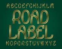 Carattere dell'etichetta della strada Fonte tipografica dorata Alfabeto inglese isolato Fotografia Stock Libera da Diritti