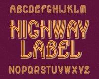 Carattere dell'etichetta della strada principale Retro fonte tipografica Alfabeto inglese isolato Fotografie Stock
