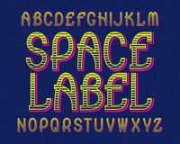 Carattere dell'etichetta dello spazio Retro fonte tipografica Alfabeto inglese isolato Immagini Stock