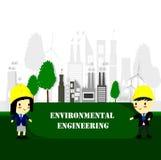 Carattere dell'ingegnere, concetto di ecologia, mondo di risparmi, stile del fumetto, ambiente di mondo e sviluppo sostenibile am royalty illustrazione gratis
