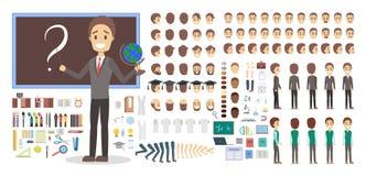 Carattere dell'insegnante nell'insieme uniforme per l'animazione illustrazione di stock