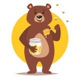 Carattere dell'orso che mangia miele illustrazione di stock