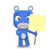 Carattere dell'orso che tiene un segno in bianco Fotografia Stock Libera da Diritti