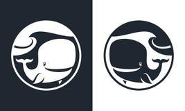 Carattere della balena del fumetto tagliato intorno all'icona royalty illustrazione gratis
