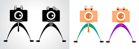 Carattere della macchina fotografica Maschio e femmina Immagine Stock Libera da Diritti