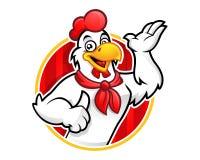 Carattere della mascotte del pollo o del pollo, adatto a bus del ristorante illustrazione vettoriale