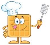 Carattere della mascotte di Square Waffle Cartoon del cuoco unico che tiene una spatola scanalata illustrazione vettoriale