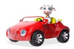 Carattere della mucca che determina la rappresentazione dell'automobile 3d Immagini Stock Libere da Diritti