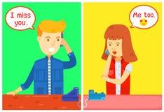 Carattere della ragazza e del tipo che rivolge al telefono con la finestra di messaggio, casa, hanno parlato sul telefono, hanno  illustrazione vettoriale