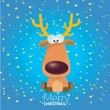 Carattere della renna di Natale del fumetto di vettore. illustrazione di stock
