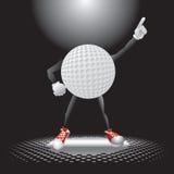 Carattere della sfera di golf sotto il riflettore Immagine Stock Libera da Diritti
