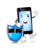 Carattere dello Smart Phone con la guardia giurata illustrazione di stock