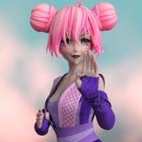 Carattere di anime con capelli rosa Immagine Stock