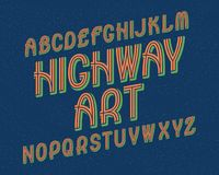 Carattere di arte della strada principale Retro fonte tipografica Alfabeto inglese isolato Fotografia Stock