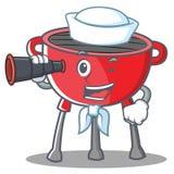 Carattere di Barbecue Grill Cartoon del marinaio Immagine Stock