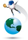 Carattere di baseball in cima al mondo Fotografie Stock Libere da Diritti