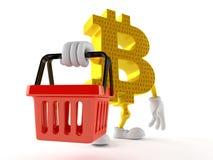 Carattere di Bitcoin che tiene cestino della spesa vuoto Illustrazione di Stock