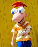 Carattere di Disney Phineas agli studi di Hollywood, Orlando, FL Immagini Stock Libere da Diritti
