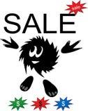 Carattere di divertimento con il contrassegno di vendita Immagine Stock