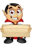 Carattere di Dracula - tenere segno di legno illustrazione di stock