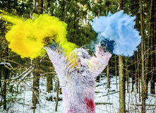 Carattere di fiaba degli yeti in foto all'aperto di fantasia della foresta di inverno immagine stock