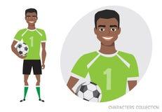 Carattere di football americano dell'africano nero Calciatore con la sfera Immagini Stock