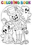 Carattere 9 di Halloween del libro da colorare Fotografie Stock