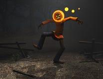 Carattere di Halloween dell'uomo della zucca Fotografie Stock Libere da Diritti