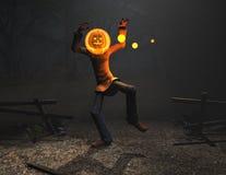 Carattere di Halloween dell'uomo della zucca Fotografia Stock Libera da Diritti