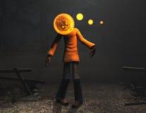 Carattere di Halloween dell'uomo della zucca Immagine Stock