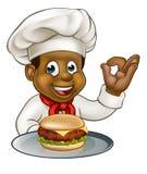 Carattere di Holding Burger Cartoon del cuoco unico Illustrazione di Stock