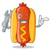 Carattere di Hot Dog Cartoon del meccanico Immagini Stock Libere da Diritti