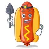 Carattere di Hot Dog Cartoon del minatore Immagini Stock Libere da Diritti