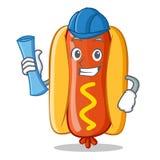 Carattere di Hot Dog Cartoon dell'architetto Immagine Stock