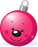 Carattere di natale - decorazione della palla con il fronte sorridente Immagine Stock Libera da Diritti