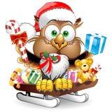 Carattere di Owl Christmas Santa Happy Face illustrazione di stock