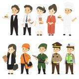 Carattere di professioni nell'insieme uniforme differente di vettore del fumetto illustrazione di stock