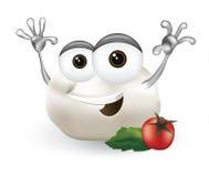 Carattere di risata, sveglio e divertente della mozzarella del personaggio dei cartoni animati fresco del formaggio del prodotto  Immagini Stock
