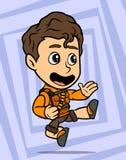 Carattere di salto castana del ragazzo di karatè del fumetto illustrazione vettoriale