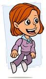Carattere di salto della ragazza della testarossa del fumetto illustrazione vettoriale