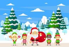 Carattere di Santa Clause Christmas Elf Cartoon Immagine Stock Libera da Diritti
