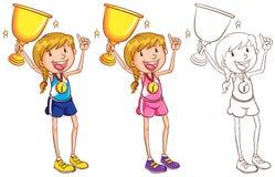 Carattere di scarabocchio per il corridore con il trofeo royalty illustrazione gratis